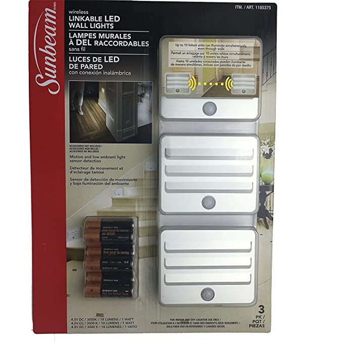 Sunbeam LED Power Failure/Night Light - 16ft Motion Sensor 18 Lumens Wireless Battery Operated Energy Efficient - 3 Pack - Link Up To 10 Units, For Bedroom, ...