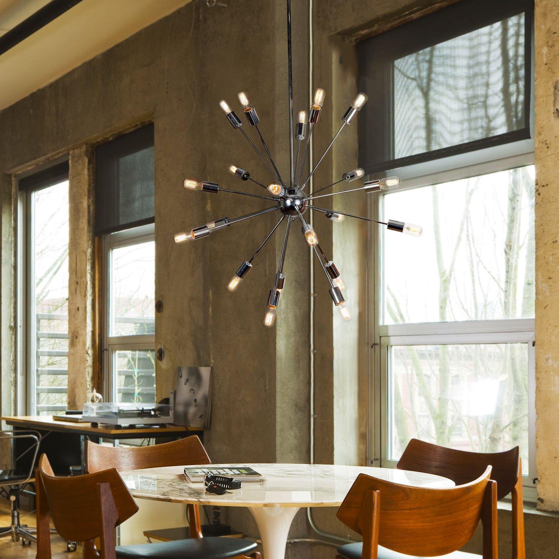 12 Socket Ceiling Fixture ETL Listed Brooklyn Bulb Co Mid-Century Modern Candelabra Chandelier by Brooklyn Bulb Co Chrome Sputnik Flush Mount Light LC003685