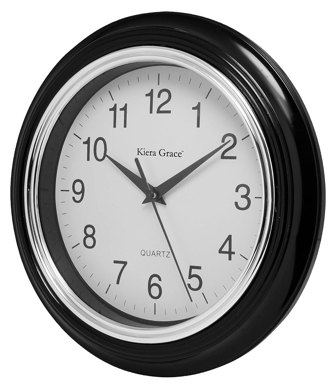 Amazon kiera grace aster round wall clock 10 inch 15 inch amazon kiera grace aster round wall clock 10 inch 15 inch deep black home kitchen amipublicfo Choice Image
