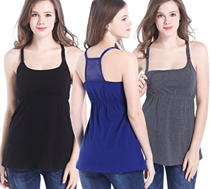 cced49a8ada CAKYE 3 Pack Cotton Maternity Nursing Tank Top Cami Shirts for Breastfeeding  (Small