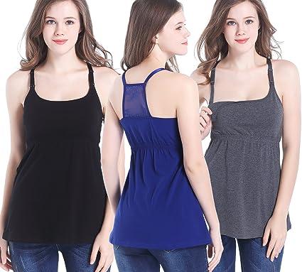 f2d82ddd0 CAKYE 3 Pack Cotton Maternity Nursing Tank Top Cami Shirts for Breastfeeding  (Small