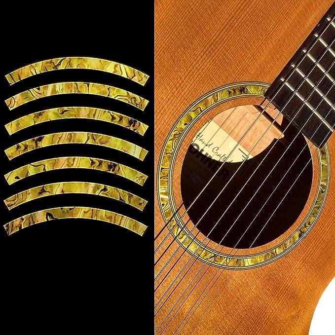 Schneespitze 2 Pezzo Guitar Soundhole Flower Guitar Decal,Sound Hole Decal Sticker In Legno,Chitarra Acustica Accessorio,Parti Della Chitarra Folk Acustica