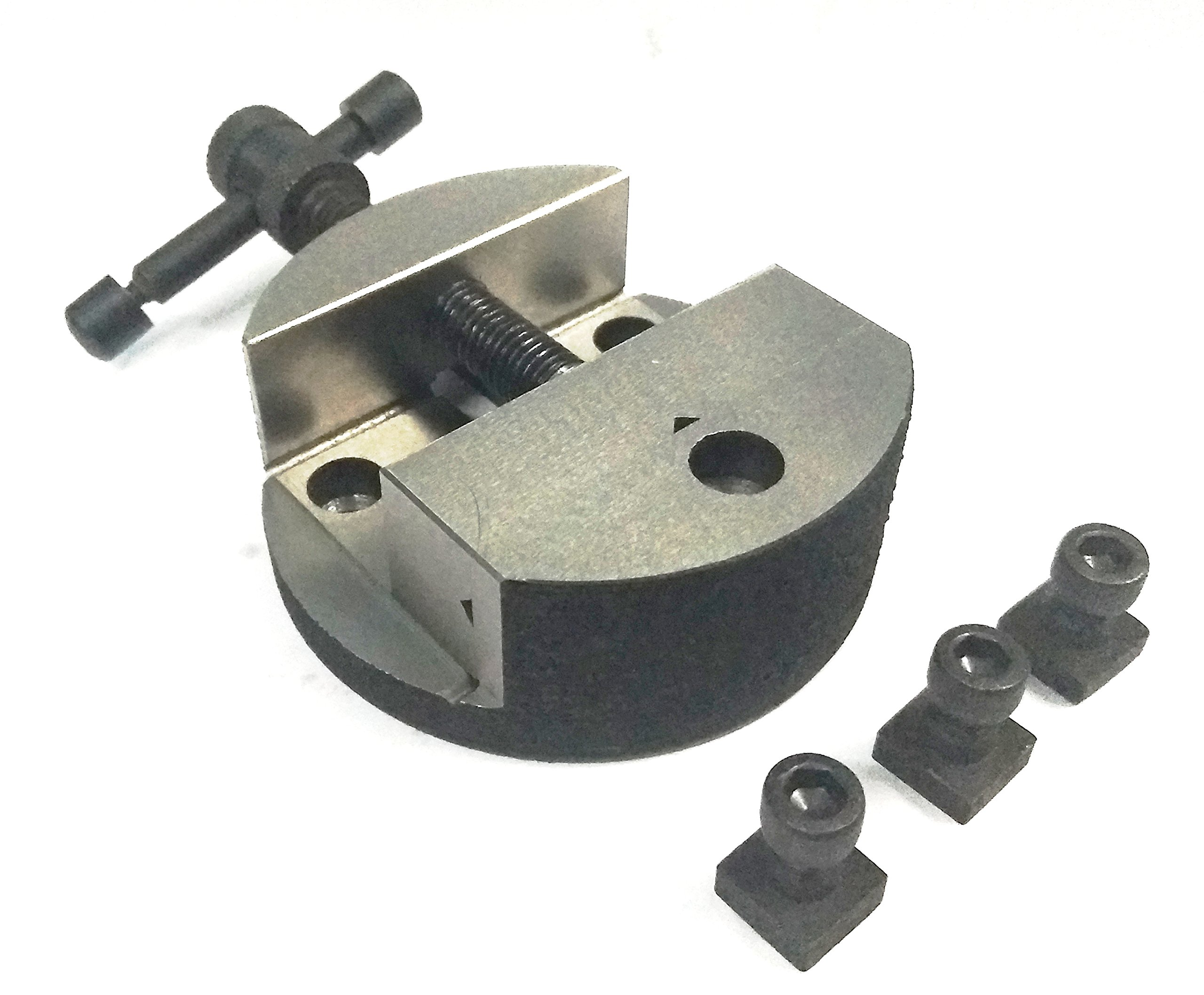 ASSORTS's Quality 100 mm Round Vice For 4'' (100 mm) Rotary Milling Indexing Table with 3 x M6 T nuts Bolts-Engineering Tools