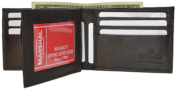 Men/'s Brown Genuine Leather Bi-Fold Credit Card ID Wallet New