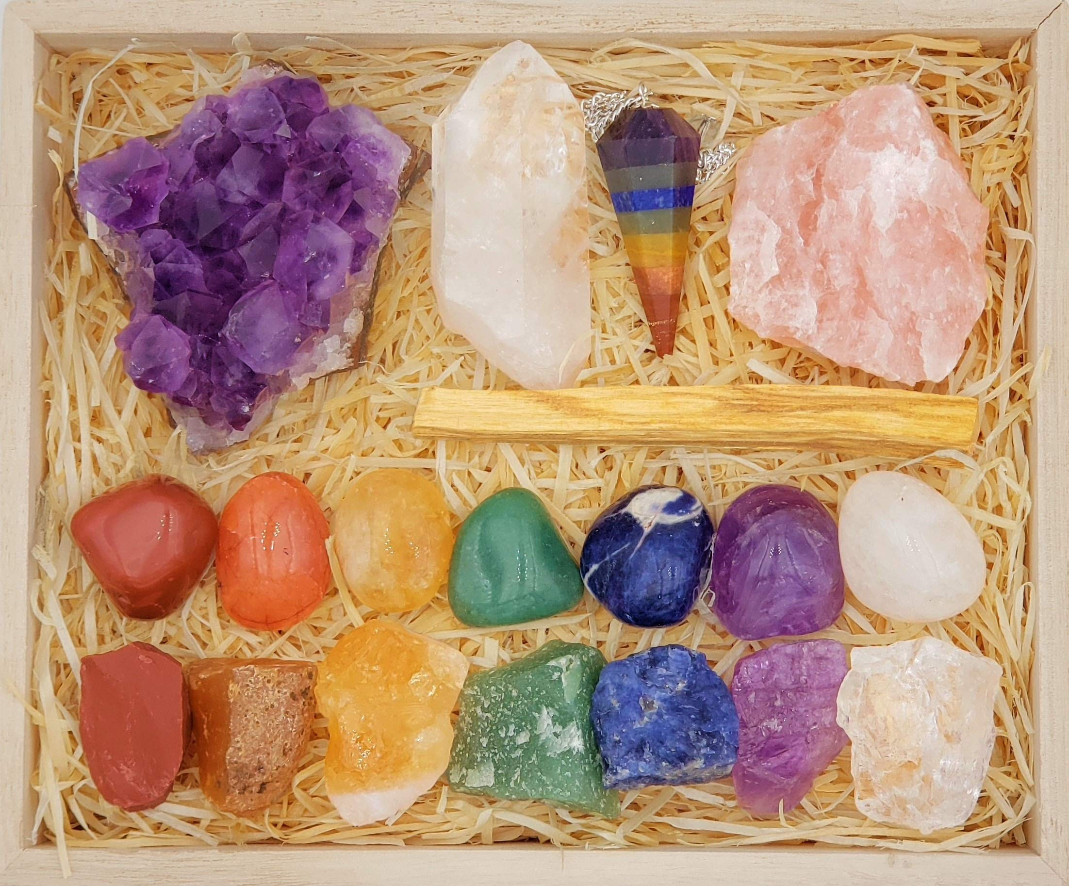 Premium Healing Crystals Chakra Gift Kit in Wooden Box - 7 Chakra Set Stones, E-Book, 20x6 Reference Guide Poster, Gift Ready (Deluxe Chakra Collection) by Zatny
