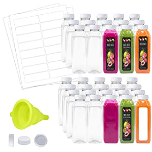 Empty Water Juice Clear Bottles with Caps Bulk 35 Pk 16 oz Clear Plastic Bottles with White Tamper Proof Lids Funnel Labels Great for Juicing Smoothies Business
