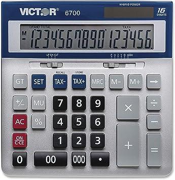 Victor 16-Digit Desktop Calculator, Silver, Blue