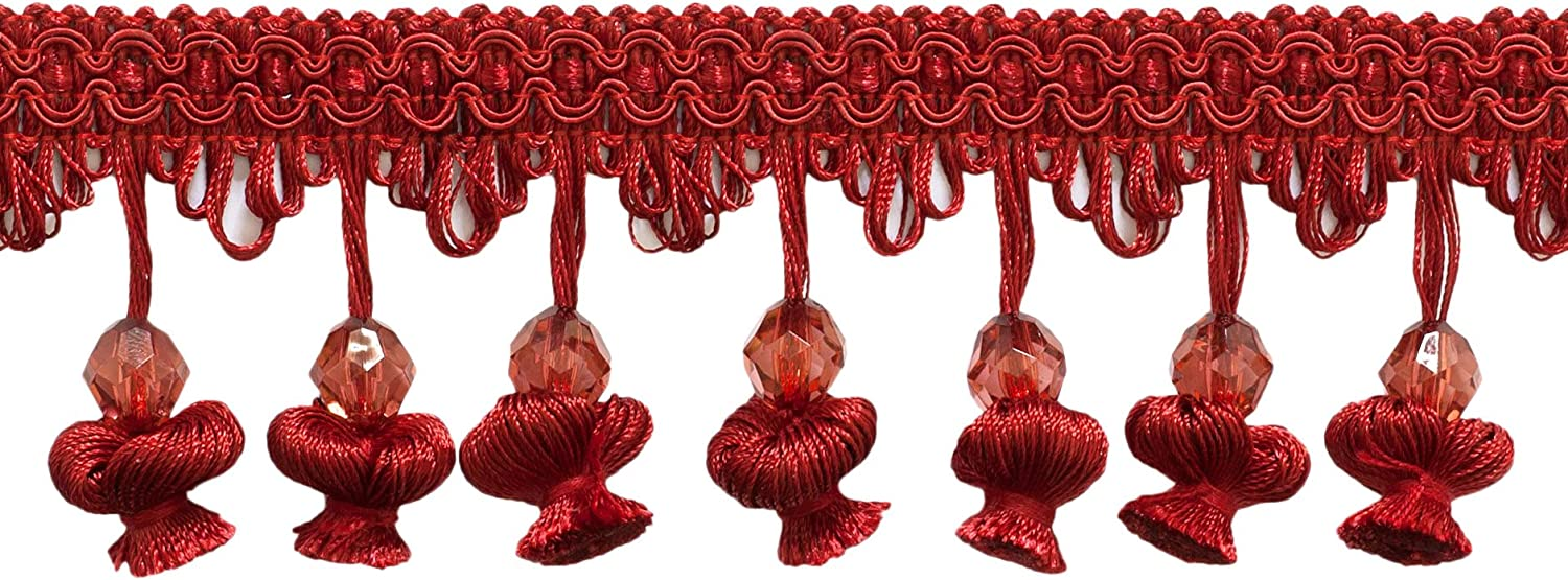 D/ÉCOPRO 5 Yard Value Pack|2 1//2 inch Beaded Onion Tassel Fringe|Style# NT2504|Color E13|15 Ft 4.6 M Red