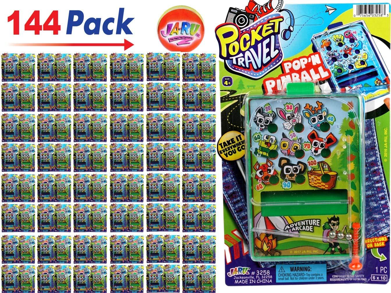 JA-RU Pinball Pocket Travel Game (144 Units) and one Bouncy Ball Item #3258-144p by JA-RU (Image #1)