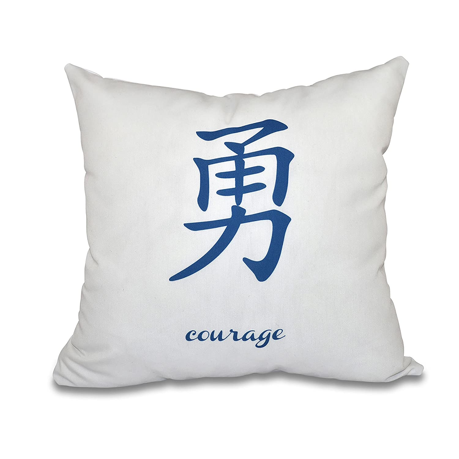 E by design PWN508BL40-16 16 x 16-inch, Courage, Word Print Pillow, Blue 16x16,