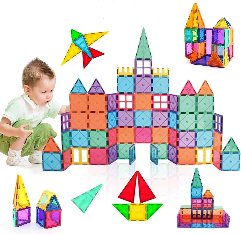KIDDYCOLOR 105Pcs 3D Magnet Building Tiles, Construction Toys for Kids, Magnetic Building Blocks Set for Boys/Girls, Educational STEM Toys