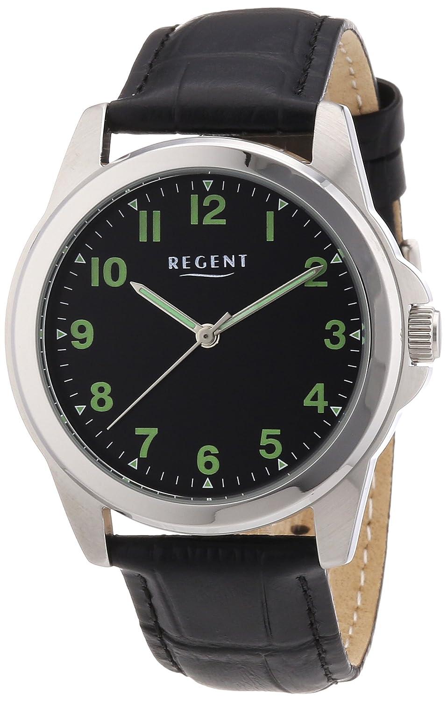 Regent 11020028 - Reloj analógico manual para hombre con correa de piel, color negro