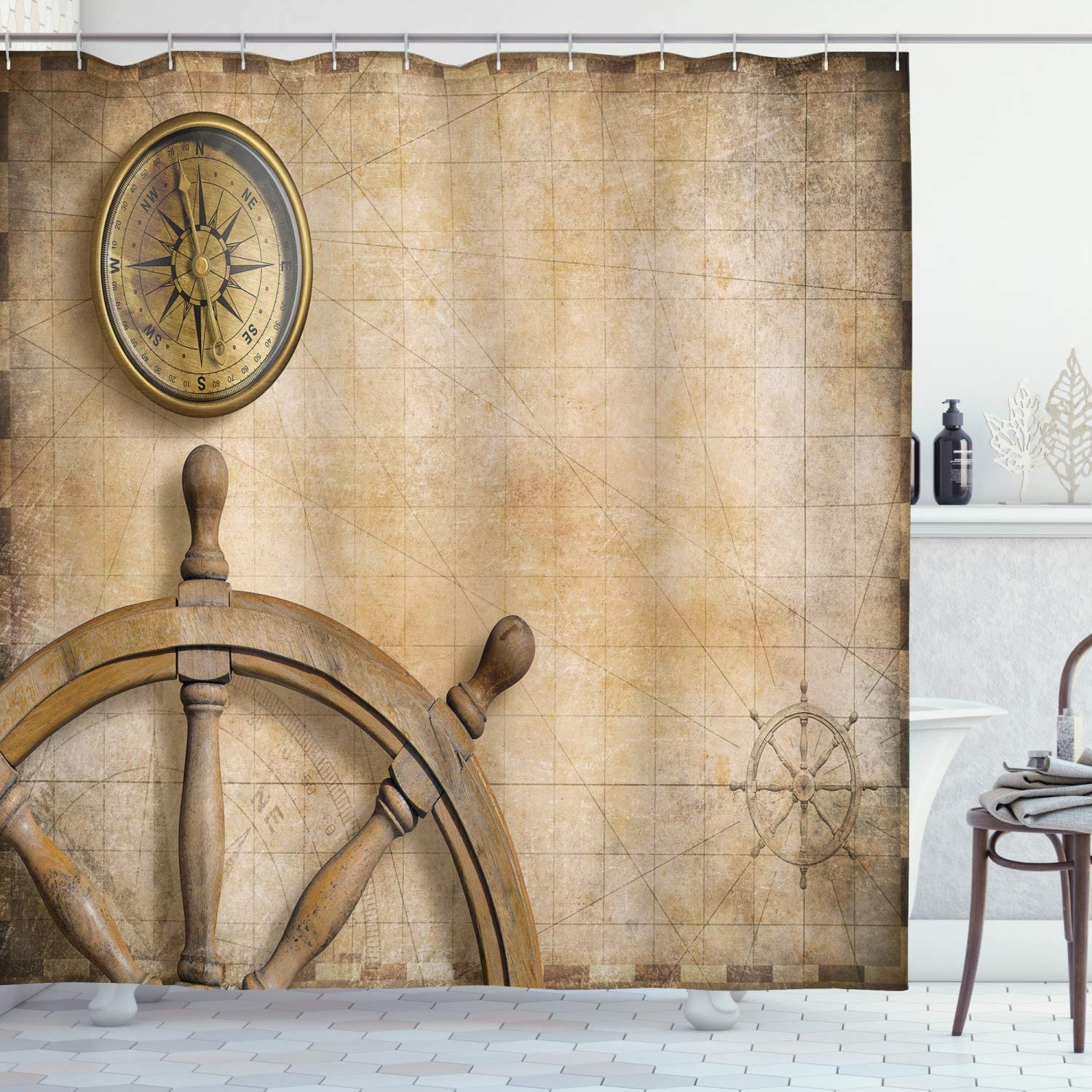 Ambesonne Nautical Shower Curtain, Steering Wheel Compass Vintage Map Setting Captain's Chamber Finding Treasure Print, Cloth Fabric Bathroom Decor Set with Hooks, 75