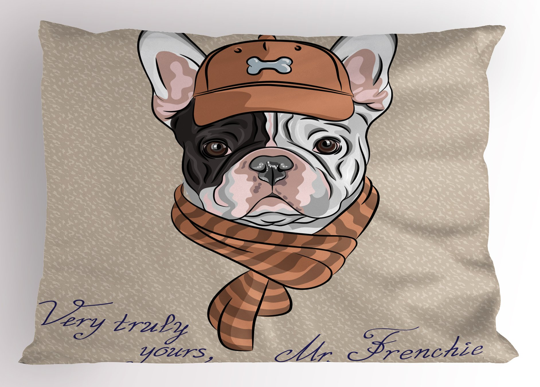 Ambesonne Vintage Pillow Sham, Funny Hipster French Bulldog with Cap and Lines Scarf Punk Animal Humor Art, Decorative Standard King Size Printed Pillowcase, 36 X 20 inches, Ecru Pink Brown