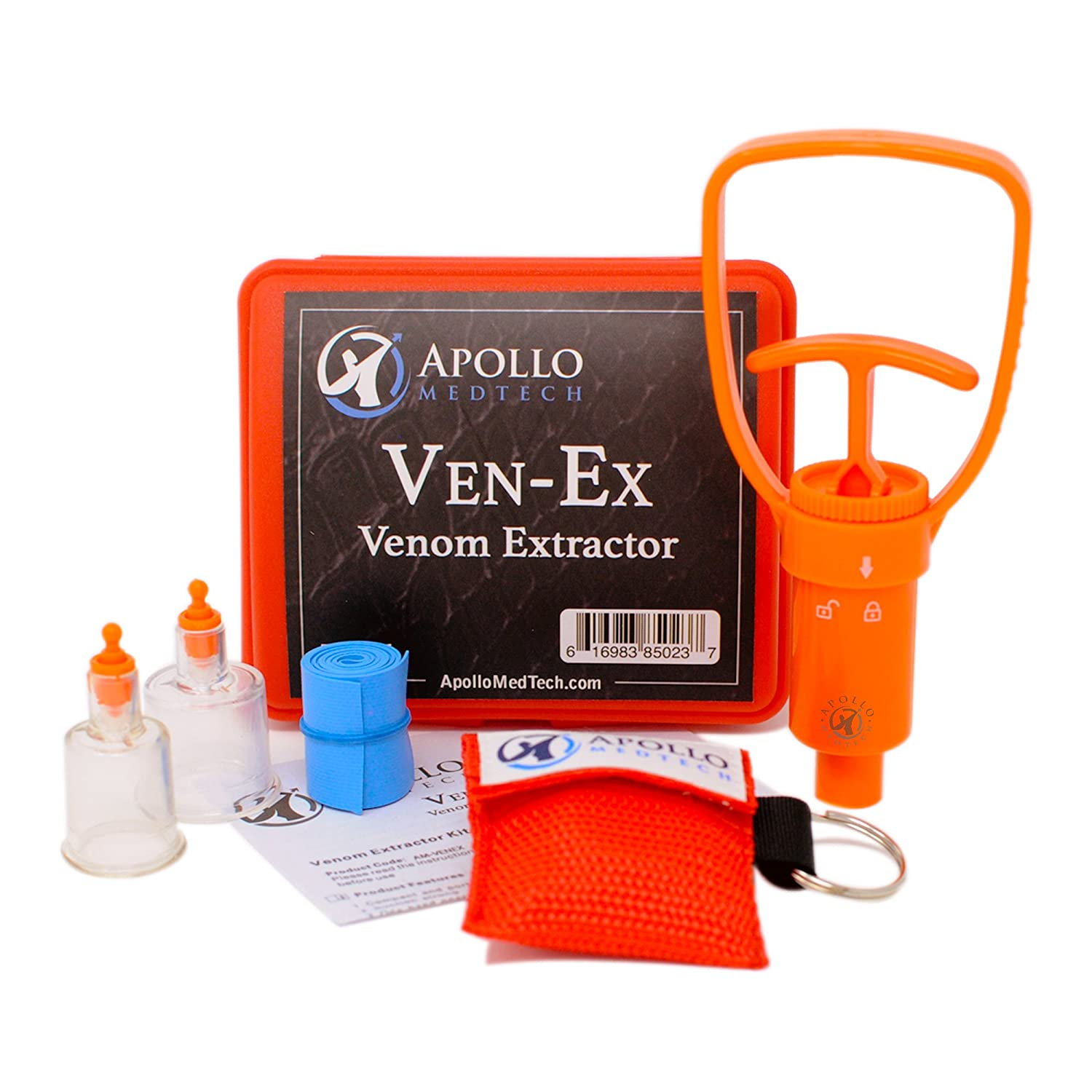 Ven-Ex Snake Bite Kit, Bee Sting Kit, Emergency First Aid Supplies, Venom Extractor Suction Pump, Bite and Sting First Aid for Hiking, Backpacking and Camping. Includes BONUS CPR face shield. Apollo MedTech