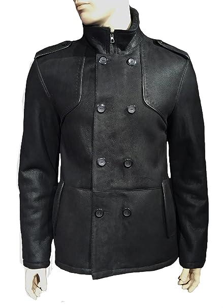 Pelo de Cordero Chaqueta Negro 2 parche de garza real de cuello alto para hombre (Talla 50 - 60 negro 58 : Amazon.es: Ropa y accesorios