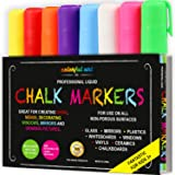 Professional CHALK PENS & MARKERS - 8 Pack BEST for Kids Art Menu Board Bistro Boards Non Porous Chalkboard Blackboard Whiteboard - Glass & Window Pens & Erasable Paint Marker with Reversible 6mm Fine or Chisel Tip - Bright Neon Coloured Plus White By Colorful Art Co