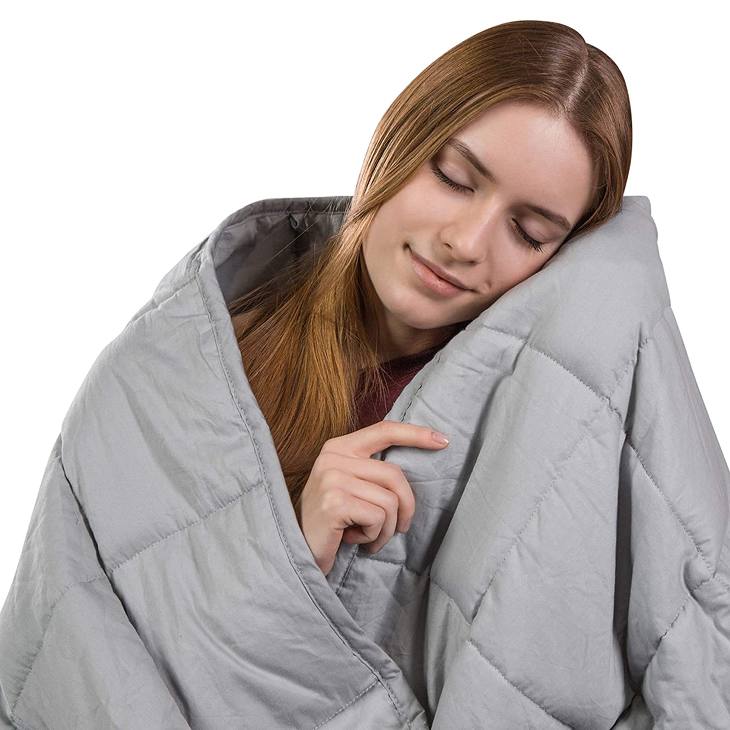 Class Cotton Weighted Blanket for Adult (80X87, 25 lbs, King Size, Light Grey) Organic Cooling Cotton & Premium Glass Beads – Designed in USA - Heavy Cool Weighted Blanket for Hot & Cold Sleepers