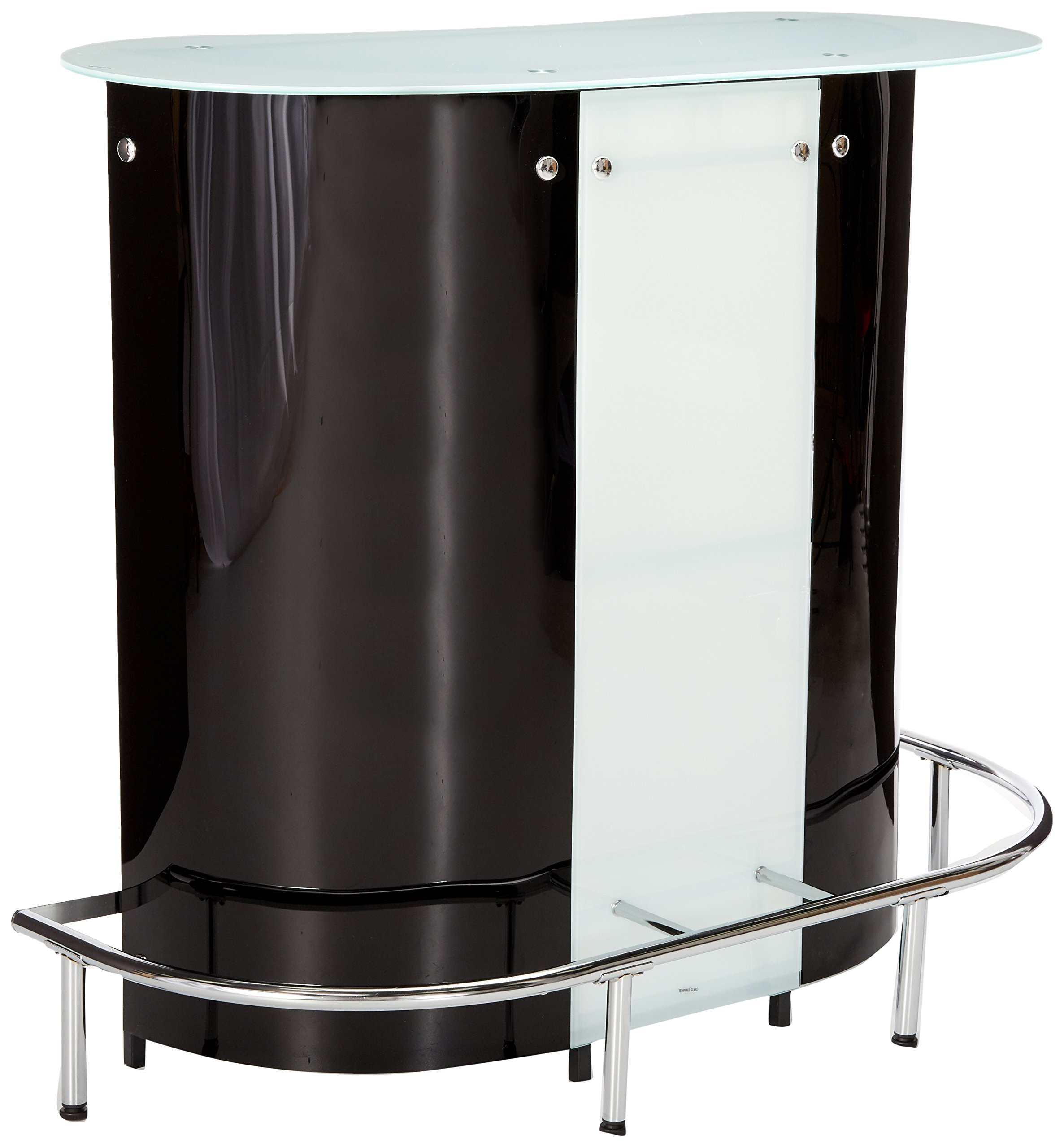 1-shelf Bar Unit with Frosted Glossy Black, Glossy White, Clear and Chrome by Coaster Home Furnishings