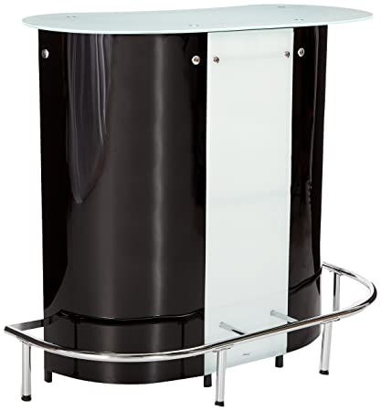 Coaster Contemporary Black/White Bar Unit With Frosted Glass Top
