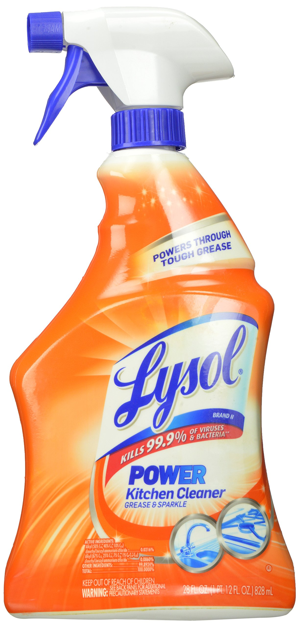 Lysol Power Kitchen Cleaner Spray, 28 Fluid Ounce (Pack of 9) string