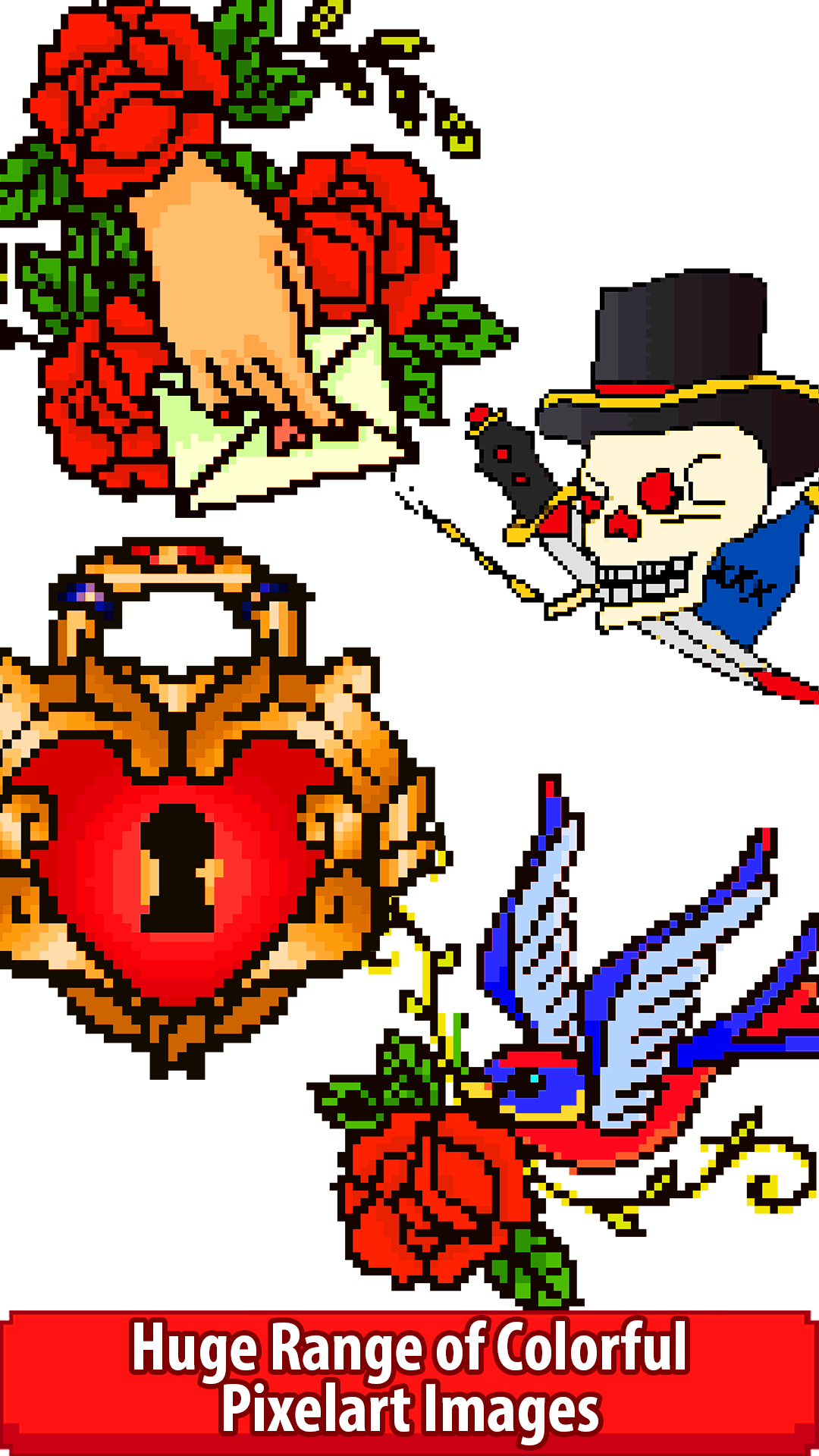 Tattoo Pixel Art - Paint by Number, Coloring Book Pages