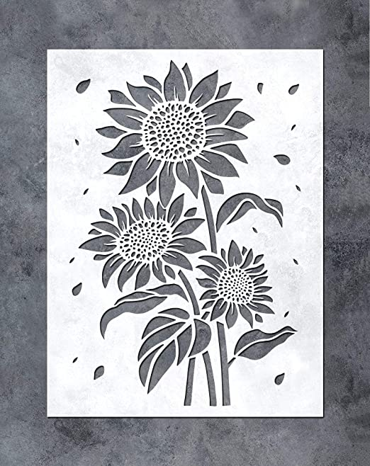 GSS Designs Sunflower Stencil (12x16Inch) - Sun Flower Stencils for Painting on Wood, Canvas, Paper, Fabric, Floor, Wall, Furniture -Reusable DIY Art and Craft Stencils Gift (SL-085)