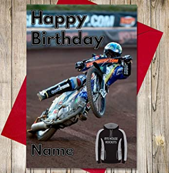 Rye House Rockets Personalised Speedway Birthday Card Any Name