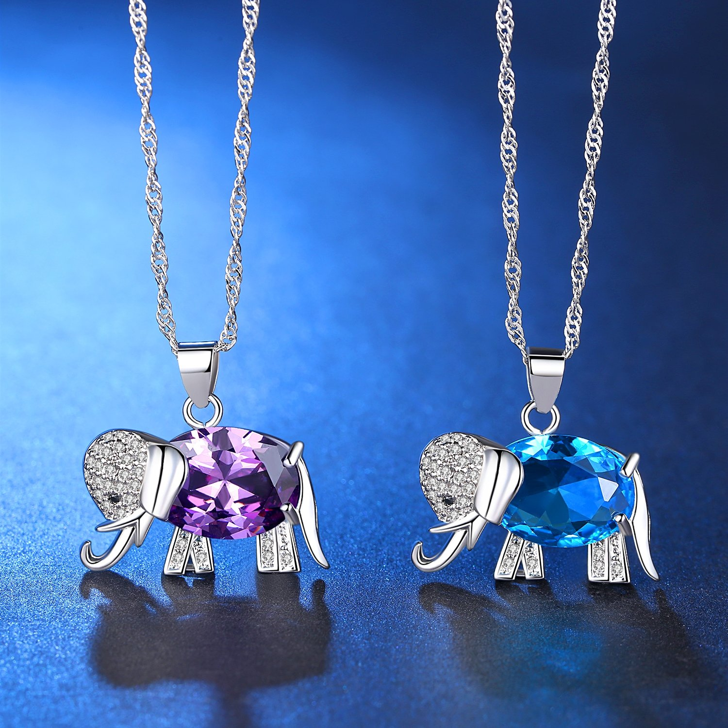 FLORAY Womens and Girls Pendant Necklace Blue High Quality Crystal Elephant Best Gift for Ladies USIAP3rE
