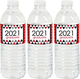 product image for Big Dot of Happiness Red Grad - Best is Yet to Come - 2021 Red Graduation Party Water Bottle Sticker Labels - Set of 20