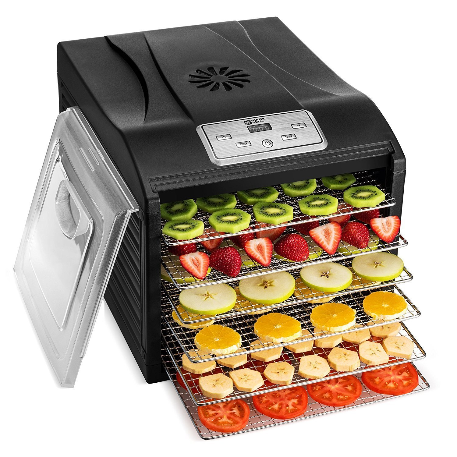 MAGIC MILL Professional Food Dehydrator Machine, 6 Stainless Steel Drying Racks, Multi-Tier Food Preserver, Digital Control BUNDLE BONUS 2 Fruit Leather Trays, 1 Fine Mesh Sheets, 1 Set Ovens Mitts by Magic Mill (Image #1)
