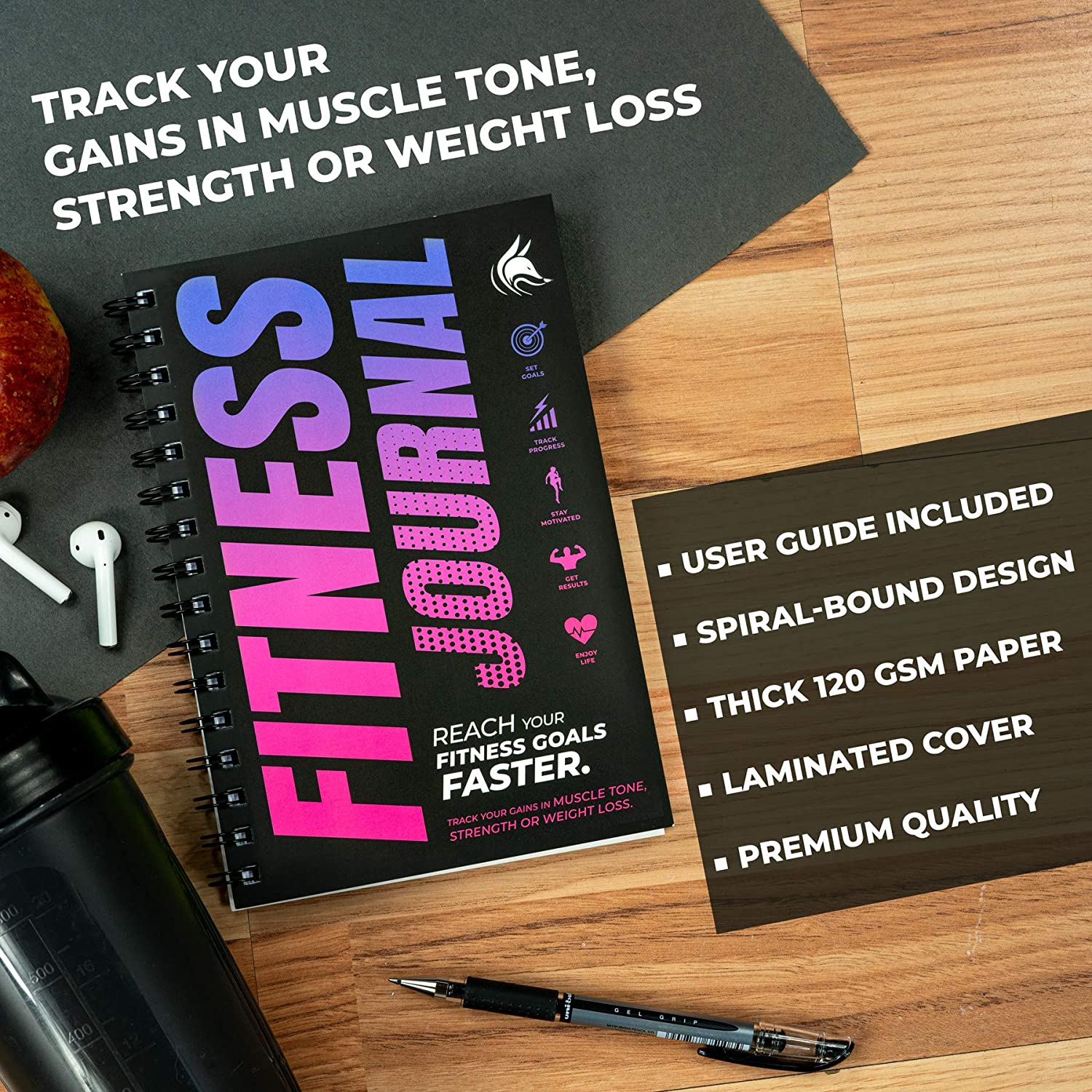 Clever Fox Fitness /& Workout Journal//Planner Daily Exercise Log Book to Track Your Lifts Cardio Thick Pages Body Weight Tracker Spiral-Bound Laminated Cover A5