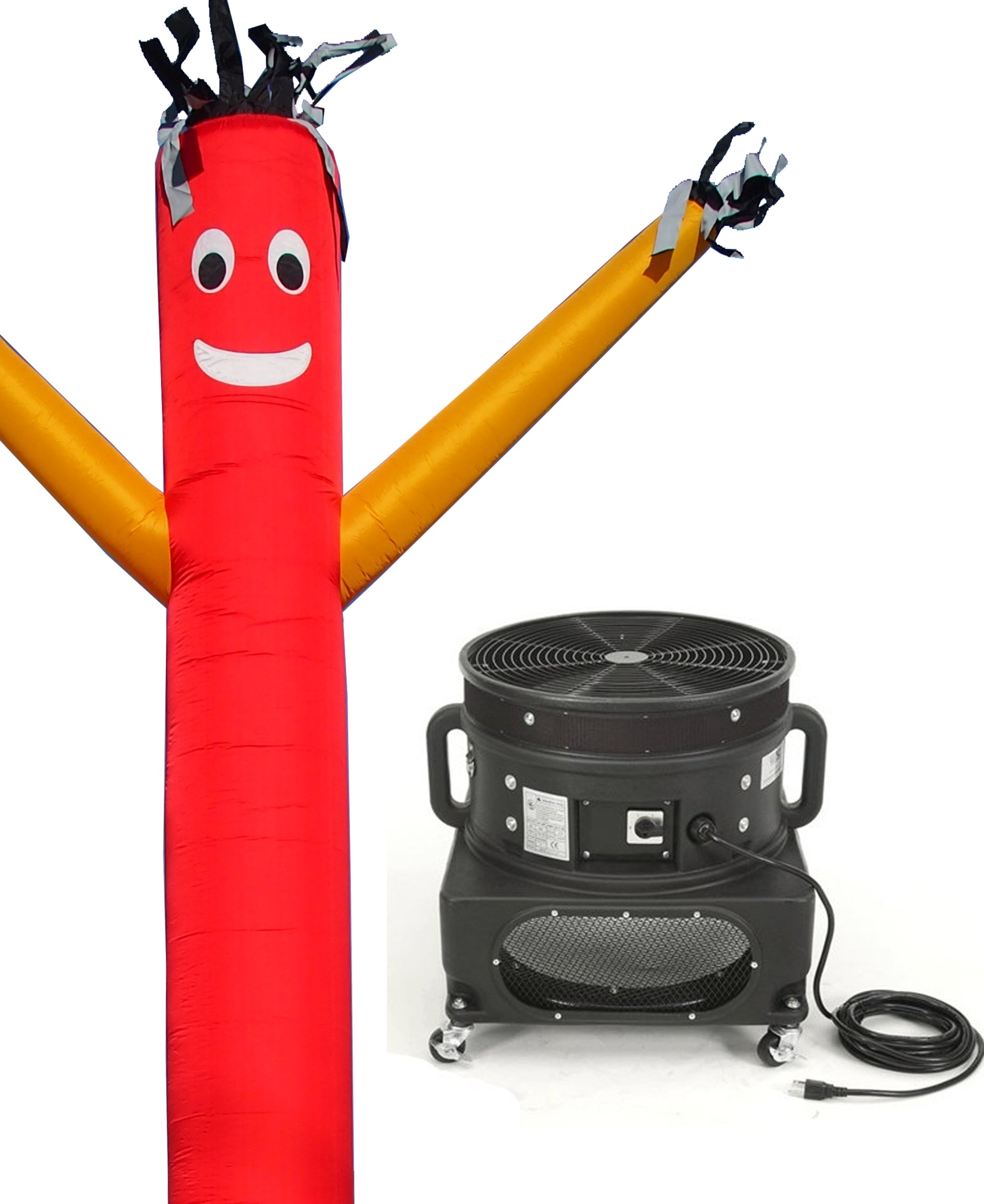 LookOurWay Air Dancers Inflatable Tube Man Complete Set with 1 HP Sky Dancer Blower, 20-Feet, Red with Yellow Arms