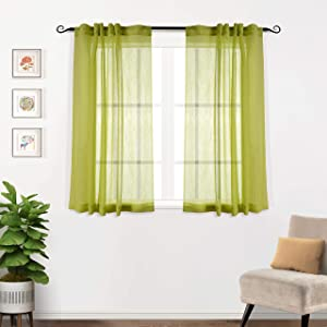 MYSKY HOME Back Tab and Rod Pocket Window Crushed Voile Sheer Curtains for Kitchen, Light Green, 51 x 63 inch, Set of 2 Crinkle Sheer Curtain Panels
