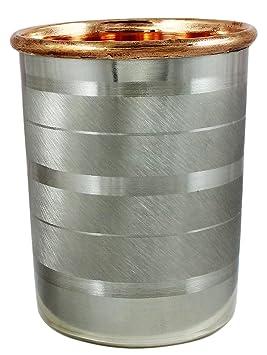 SKAVIJ Indian Copper Tumbler Drinking Glass for Healing Inside Copper Outside Steel Glassware & Drinkware at amazon
