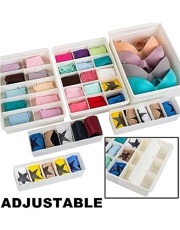 Uncluttered Designs Organizadores de Cajones Ajustables Plástico Duradero Apilable para Ropa Interior Manualidades Oficina Baño y