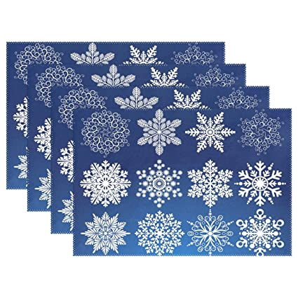 Amazon com: WellLee White Christmas Snowflake Placemat Set Polyester