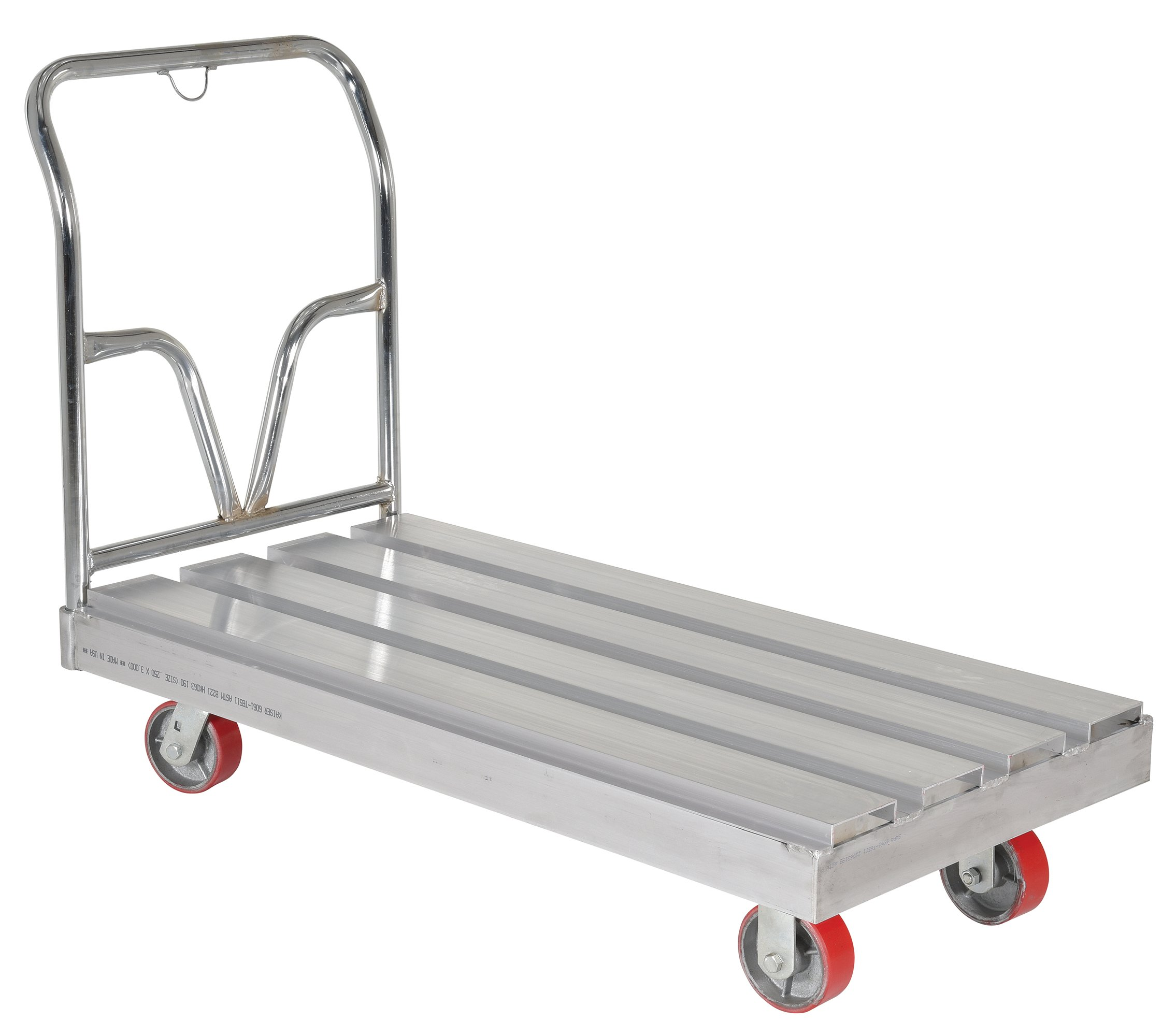Vestil SDD-2448 Aluminum Platform Truck, 3600 lb Capacity, 10-5/8'' Deck Height, 23-1/4'' Handle Width, 5'' x 2'' Poly-on-Steel Casters, 24'' x 48''