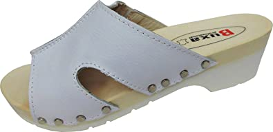 Schweden HOLZ CLOGS - Pantolette Gr.35 36 37 38 39 40 41 42 Weiss Echt Leder- (Made in Poland 6.3.12.50)