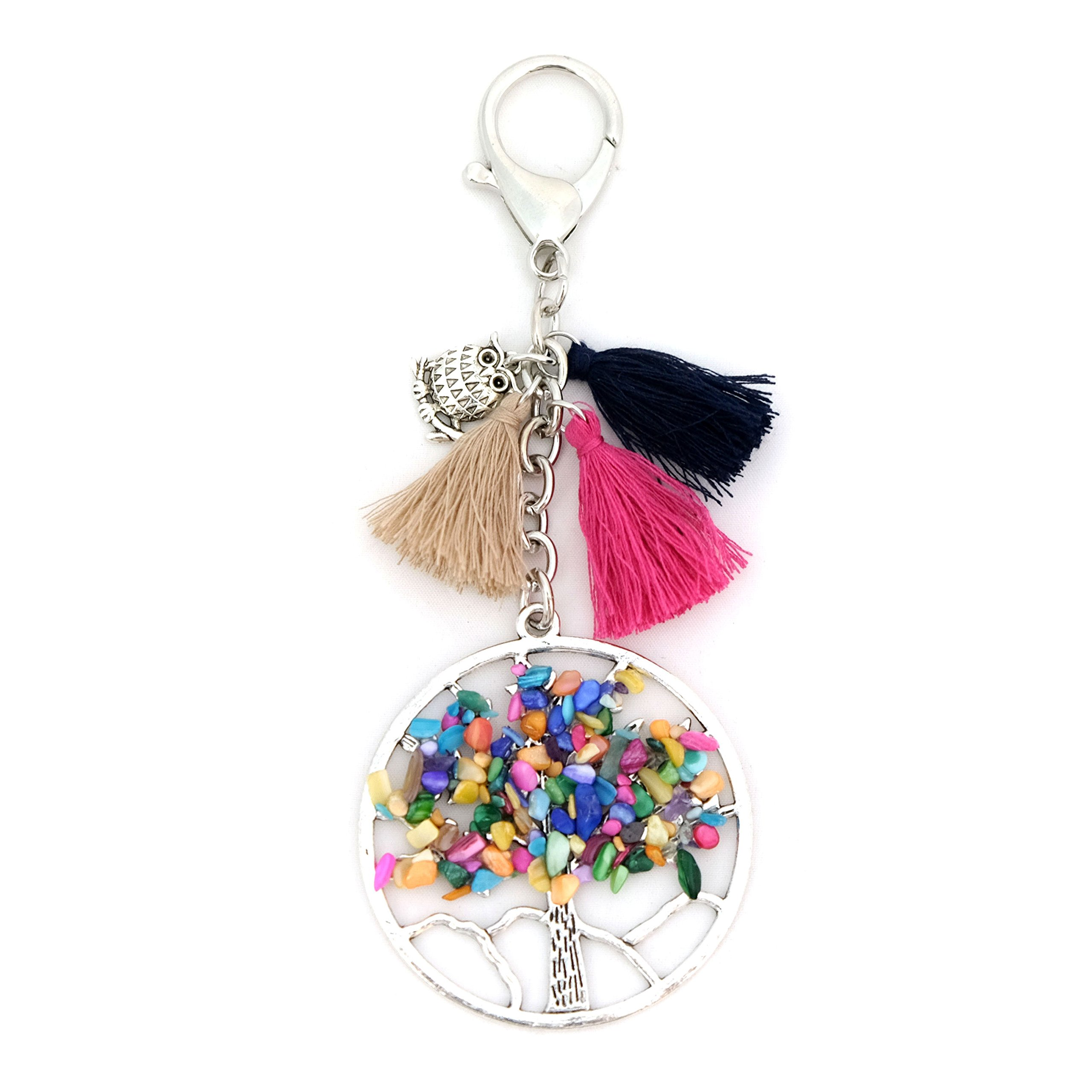 Purse Charm Keychain Tree of Life Owl Tassel Colorful Accessory for Bag Purse Fortune Luck Energy Chakra Healing (Tree of Life)