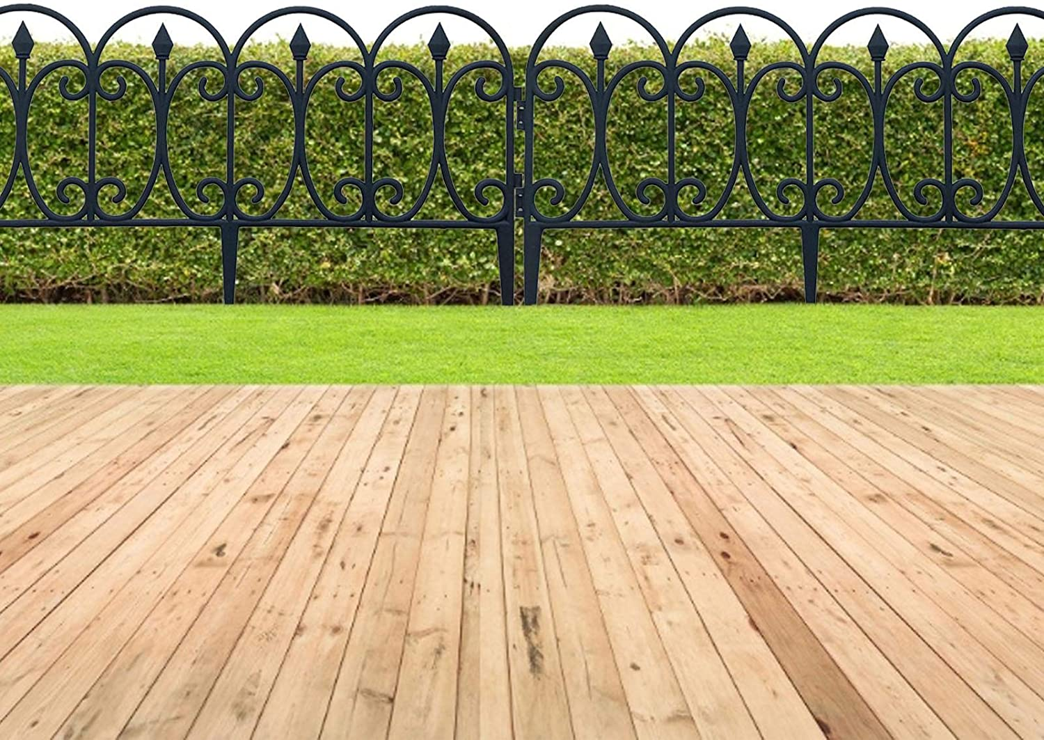 23.62in x 13inch Black Metal Landscape Wire Folding Fencing Patio Wire Border for Flower Bed Dog Barrier Tall Garden Edge WXGY 5pcs Decorative Garden Fence