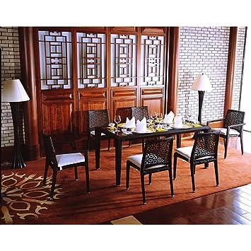 Mesa, sillas y sillones Dynasty Dining resina negra con ...