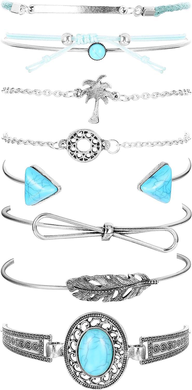 Hanpabum/8/Pcs/Turquoise/Cuff/Bracelet/for/Women/Girls/Knot/Stackable/Open/Bangle/Bracelet/Set/Adjustable/Silver/Tone/Gold/Tone