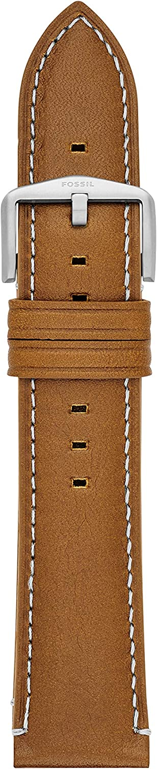 Fossil Unisex 22mm Leather Interchangeable Watch Band Strap, Color: Light Brown/White-Stich (Model: S221246)
