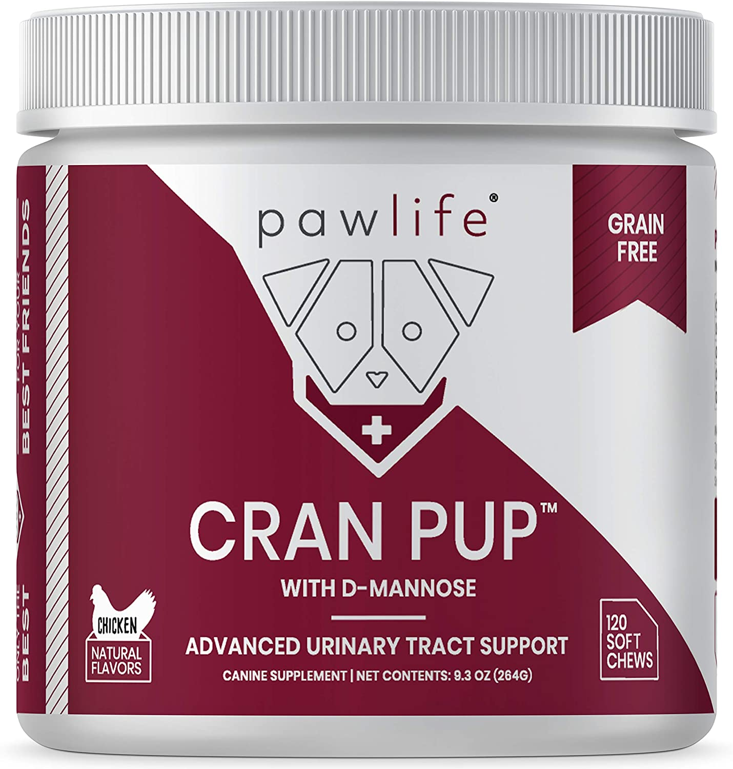 pawlife Cranberry Treats for Dogs – 120 Veterinarian Formulated Soft Chews with D Mannose & Antioxidants – Supplement for UTI, Bladder Health and Urinary Tract Infection, Incontinence Support