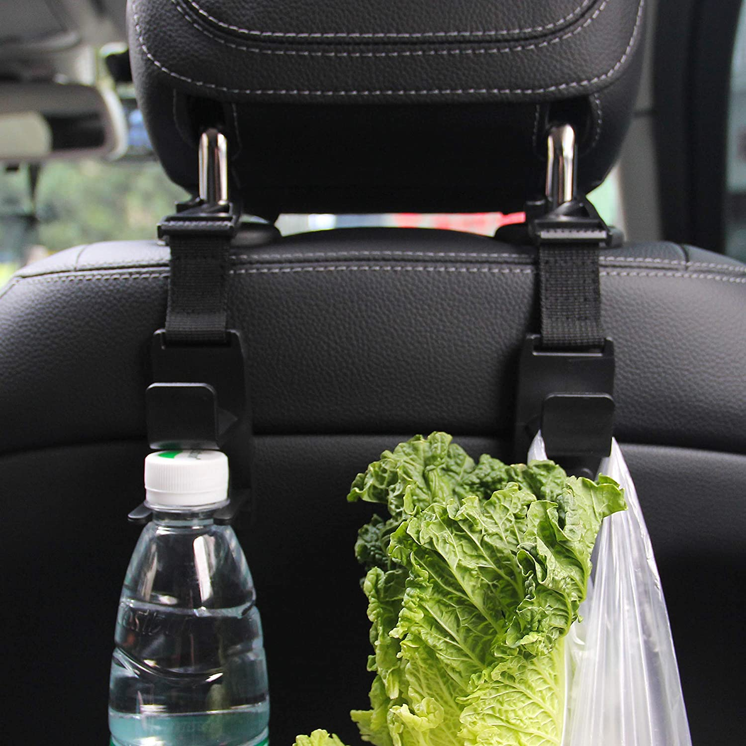 Universal Multifunctional Car Vehicle Back Seat Headrest Mobile Phone Holder Hanger Holder Hook for Bag Purse Cloth Grocery Black Set of 2