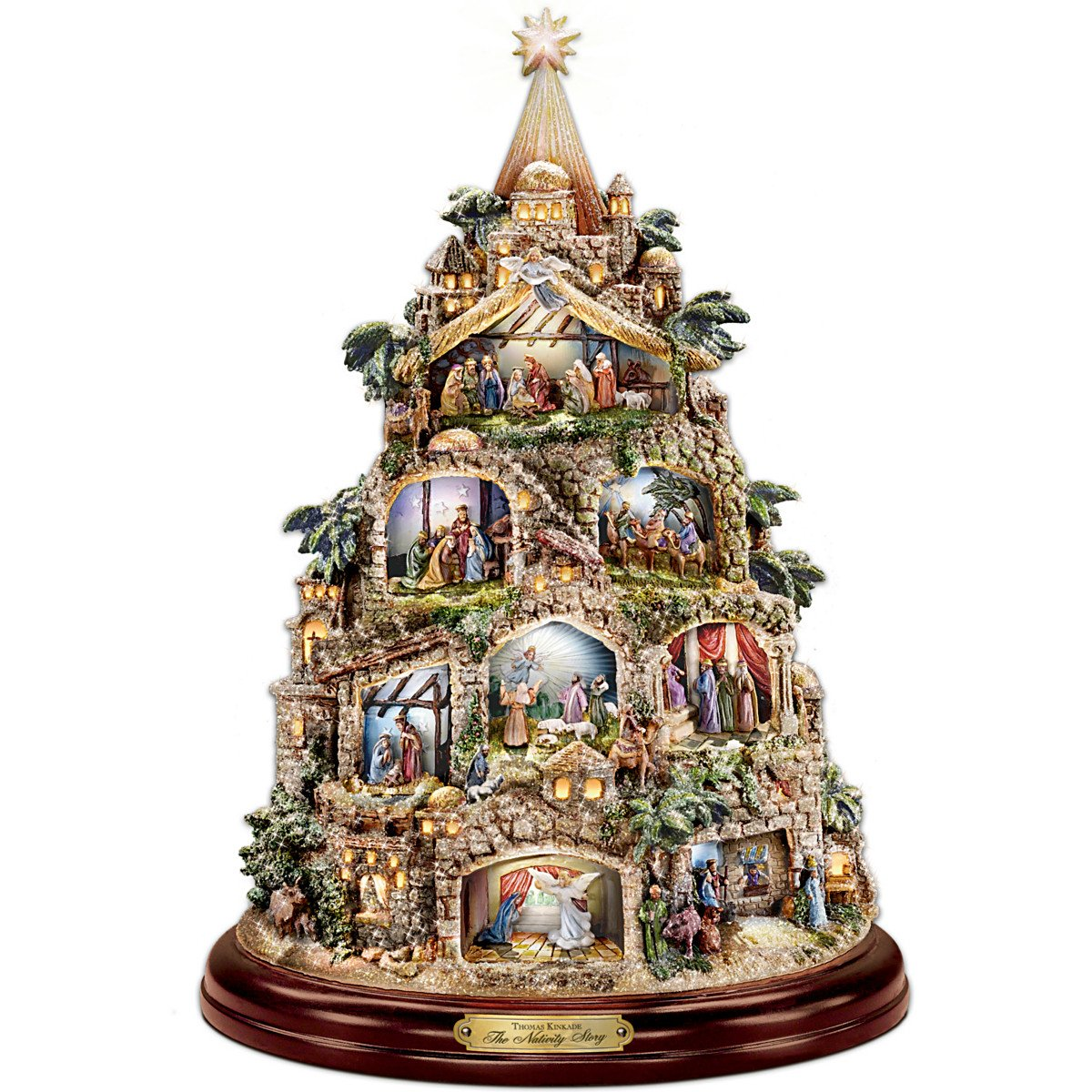 The Bradford Exchange - Illuminated Nativity Tree with Thomas Kinkade Narration - 8 Scenes - Illuminated - 12