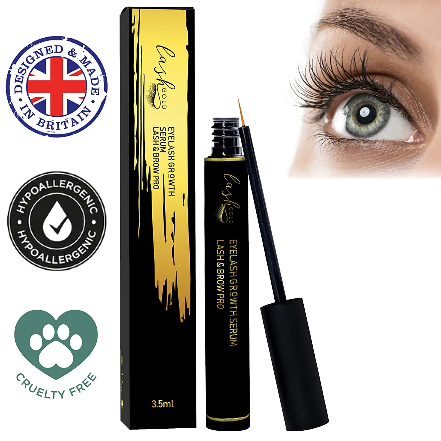 Beauty Eyelash Growth Serum Lash & Brow Pro Conditioner - Lash Gold Eyelash/Eyebrow Advanced Enhancer and Booster 3.5ml – Best Seller – Hypoallergenic Natural Formula With Vitamins & Minerals