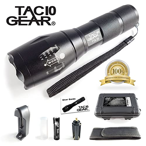 TAC10 GEAR Tactical LED Flashlight XML-T6 1000 Lumens Includes Rechargeable Li-Ion Battery and Charger Plus Holster Adjustable Zoom Focus 5 User Modes Water Resistant
