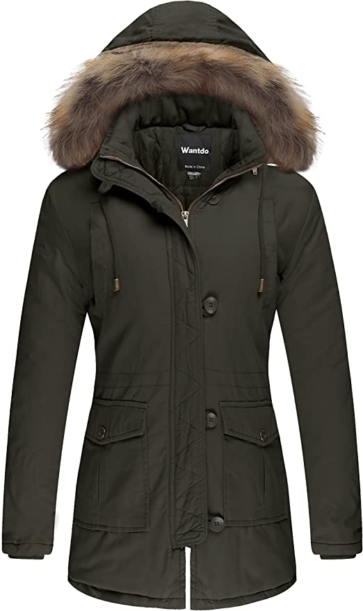 Wantdo Women's Snow Jacket Fur Hooded Cotton Padded Coat(Army Green,Medium)